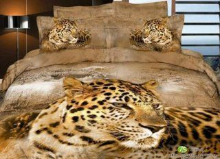 Perfectos 4 Pcs Comforter Cotton Classic Leopard Printed Duvet Cover and Bedding Set Queen   Queen Comforter Sets Clearance