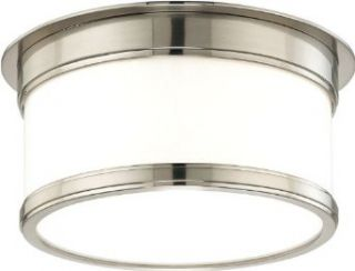 Hudson Valley Lighting 712 SN Geneva 2 Light Flush Mount Ceiling Fixture, Satin Nickel   Flush Mount Ceiling Light Fixtures