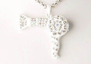 White Enamel Clear Crystal Rhinestone Blow Dryer Salon Hair Pendant Necklace Jewelry