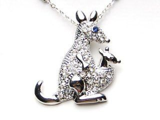 Clear Crystal Rhinestone Mama Kangaroo & Baby Joey Costume Blue Pendant Necklace Jewelry