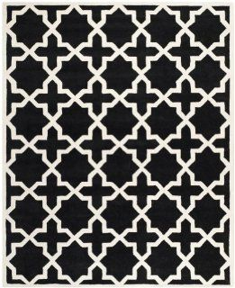Safavieh CHT732K Chatham Collection Area Rug, 8 Feet 9 Inch by 12 Feet, Black and Ivory