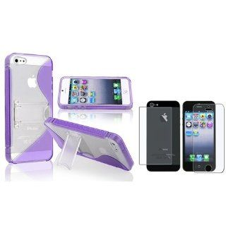 eForCity Purple S Shape TPU Rubber Skin w/Stand Case + Anti glare Front & Back screen Protector Compatible with Apple� iPhone� 5 Cell Phones & Accessories
