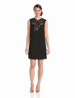 BCBGMAXAZRIA Women's Valentine Lace Applique Sleeveless Dress, Black, X Small