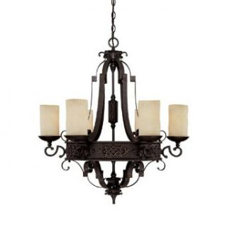 Capital Lighting 3606RI 125 Chandelier with Rust Scavo Glass Shades, Rustic Iron Finish