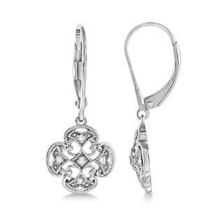 0.10ct Four Leaf Clover Shaped Drop Diamond Earrings For Women 14k White Gold Good Luck Jewelry