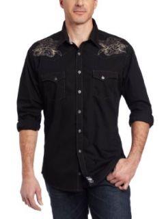 Wrangler Men's Rock 47 By Spread Collar Dress Shirt, Black, X Large at  Men�s Clothing store Button Down Shirts