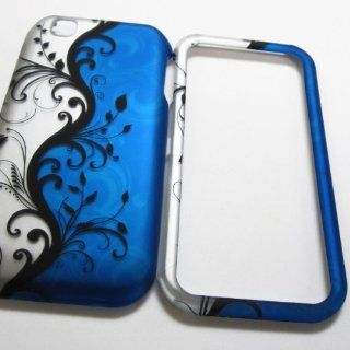 RUBBERIZED HARD PHONE CASES COVERS SKINS SNAP ON FACEPLATE PROTECTOR FOR LG MAXX TOUCH MYTOUCH MY TOUCH 4G E739 E 739 e739 TMOBILE t.MOBILE / BLUE VINE AND SILVER(WHOLESALE PRICE) Cell Phones & Accessories