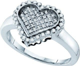 0.26 Carat (ctw) 10k White Gold Round Diamond Ladies Heart Micro Pave Bridal Promise Ring 1/4 CT Jewelry