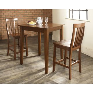 Three Piece Pub Dining Set with Tapered Leg Table and Barstools in