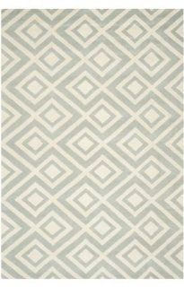 Safavieh CHT742E Chatham Collection Wool Handmade Area Rug, 4 Feet by 6 Feet, Grey and Ivory
