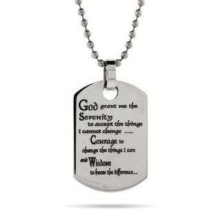 Stainless Steel Serenity Prayer Dog Tag Pendant Length 20 inches (Lengths 18 inches 20 inches 24 inches Available) Eve's Addiction Jewelry