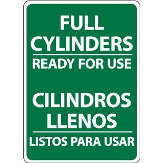 "NMC M743RB Bilingual Cylinder Sign, Legend ""FULL CYLINDERS READY FOR USE"", 10"" Length x 14"" Height, Rigid Polystyrene Plastic, White on Green Industrial Warning Signs"
