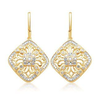 10k Yellow Gold Diamond Antique Style Dangle Earrings (1/2 cttw, I J Color, I2 I3 Clarity) Jewelry