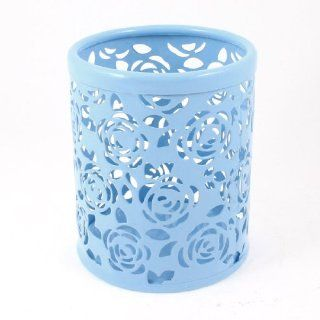 Light Blue Hollow Rose Flower Pattern Metal Pen Pencil Pot Holder Organizer