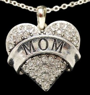 From the Heart Valentine's Day, Mother's Day, or any Day Clear Crystal Rhinestone Heart Necklace with MOM engraved in the center Pendant is approximately 1 1/2 inch long with Crystal Rhinestones Sparkling on an 18 inch Chain  Perfect Gift for th