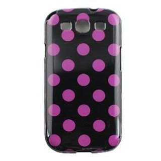 Samsung Galaxy S 3 III / S3 / i9300 i 9300 / i747 i 747 Black with Purple Polka Dots Circles Design TPU Soft Gel Candy Skin Protective Cover Case Cell Phone Cell Phones & Accessories