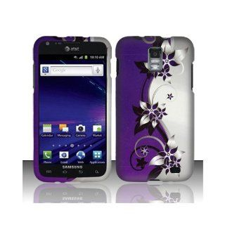 Purple Silver Flower Hard Cover Case for Samsung Galaxy S2 S II AT&T i727 SGH I727 Skyrocket Cell Phones & Accessories