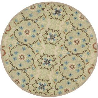 Safavieh HK727D 5R Chelsea Collection 5 Feet 6 Inch Round Hand hookedWool Round Area Rug, Sage and Ivory
