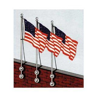 Vertical wall mounted 10ft aluminum pole   USA 3 x 5 Sewn Nylon Flag  Vertical Wall Mounted Flagpoles  Patio, Lawn & Garden