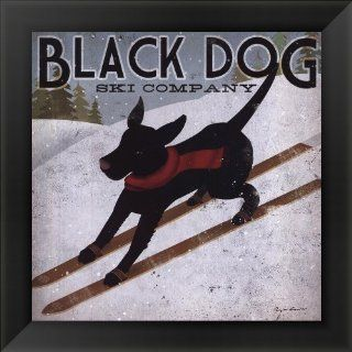 Black Dog Ski by Ryan Fowler Framed Art, Size 14 X 14   Prints