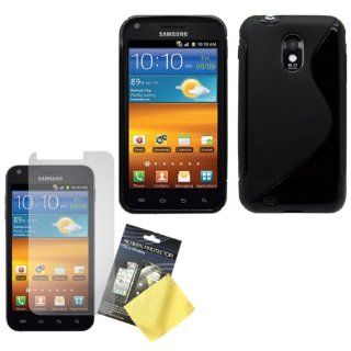 Cbus Wireless Black S Line Flex Gel Case / Skin / Cover & LCD Screen Protector / Guard / Film for Samsung Epic 4G Touch / D710 Cell Phones & Accessories