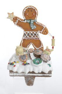 "7.5"" Gingerbread Kisses Cookie Boy Christmas Stocking Holder   Gingerbread Man Christmas Decorations"