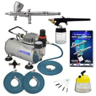 Master Pro Multi Purpose Two Airbrush Set with Compressor   Includes Air Filter/Regulator  3  6' Air Hoses   Multi Airbrush Holder  Model G44 Gravity Feed Dual Action Master Airbrushes and Master Airbrush E91 suction Feed Airbrush  Airbrush Cleaning Po