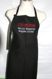 "Black Embroidered Apron ""Caution Senior Moments Happen Often"" Clothing"