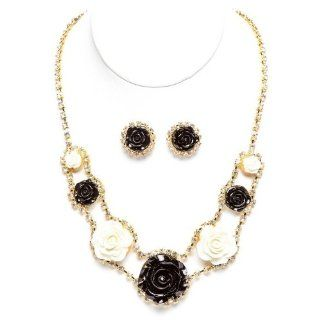 "Chelsea Hill 18"" Gold Tone Black and White Roses with Rhinestones Necklace and Earring Set Jewelry Sets Jewelry"