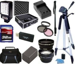 Advanced Accessory Kit For Sony HDR PJ710V HDR PJ760V HDR PJ790V HDR CX760V Handycam Camcorder   Includes 3PC Filter Kit + Wide Angle Lens + Telephoto + 32GB SD Memory Card + Replacement NP FV100 Battery + Battery Charger + LED Video Light + Deluxe Case +