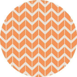 8' Chevron Pathway Orange and White Hand Woven Wool Round Area Throw Rug   Handmade Rugs