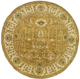 Safavieh Classics Collection CL764A Handmade Gold and Ivory Wool Round Area Rug, 6 Feet