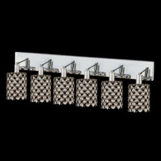 "Hollywood Design 6 Light 40"" Round Wall Sconce Rectangular Bath Bar Dressed with 30% Lead or Swarovski Spectra Crystal SKU# 13097"