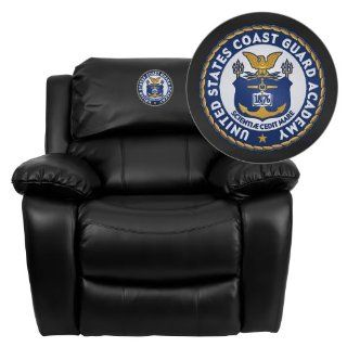 Flash Furniture United States Coast Guard Academy Embroidered Black Leather Rocker Recliner   Red Recliner