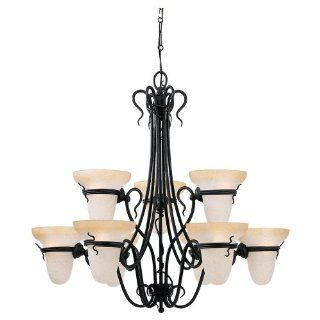 Sea Gull Lighting 3212 185 Nine Light Saranac Lake Chandelier, Forged Iron Finish with Ember Glow Glass