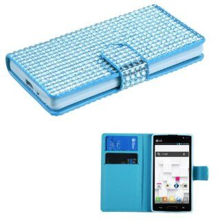 LG P769 (Optimus L9) Light Blue Diamonds Book Style MyJacket Wallet (with Card Slot)(827) (with Package) Cell Phones & Accessories