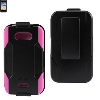 Reiko SLCPC09 LGMS770BKHPK Compact and Durable Hybrid Combo Case with Holster, Belt Clip and Kickstand for LG Motion 4G/LG Optimus Regard   1 Pack   Retail Packaging   Black/Hot Pink Cell Phones & Accessories
