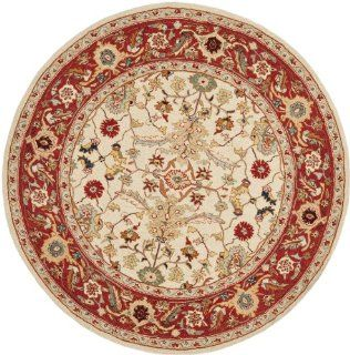 Safavieh Chelsea Collection HK751C 5R Hand Hooked Ivory and Red Wool Round Area Rug, 5 Feet 6 Inch   Tabriz Rug
