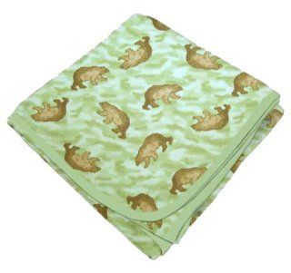 SheetWorld Flannel Receiving Blanket   Green Camo Bear   Made In USA  Nursery Receiving Blankets  Baby