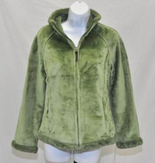 NEW Green Tea Womens Full Zip Faux Fur Lined Jacket Coat Sage Green Size Small
