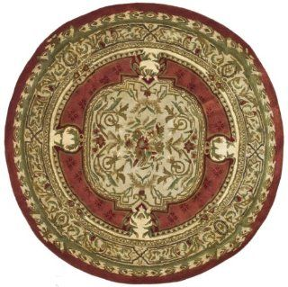 Safavieh CL755A 4R Classics Collection Handmade Burgundy and Beige Wool Round Area Rug, 3 Feet 6 Inch