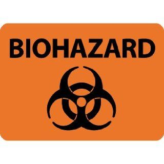 "NMC M758RB Biohazard Sign, Legend ""BIOHAZARD"" with Graphic, 14"" Length x 10"" Height, Rigid Polystyrene Plastic, Black on Orange Industrial Warning Signs"