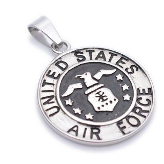 K Mega Jewelry Stainless Steel Silver Colour Air Force Mens Pendant Necklace P781 Jewelry