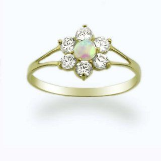 14K Baby Ring Yellow Gold Ring Opal & CZ Cluster size 2 to 5 For Baby, Kids And Teens Jewelry