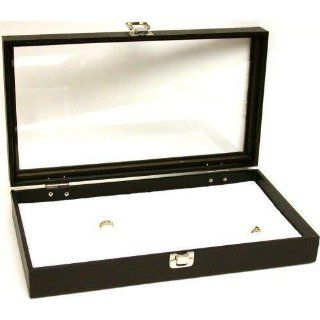 72 Slot White Ring Foam Jewelry Display Glass Top Tray   White Slot Jewelry Case
