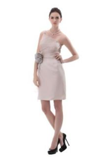Fashion Perfactory Backless Strapless Evening Party Cocktail Dress in Beige