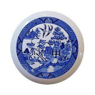 Blue willow design Ceramic Knobs Pulls Kitchen Drawer Cabinet Vanity Closet 796   Cabinet And Furniture Knobs