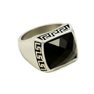 "Queen Jewelers Super Savings Men's Stainless Steel Heavy Silver and Black CZ Crystal Ring Sizes 9 to 12 ""17mm Front"" Celtic Ring Men S Jewelry"