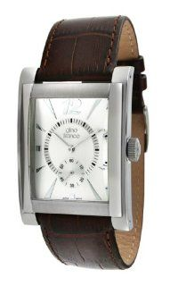 gino franco Men's 902BR Stainless Steel Case and Genuine Leather Strap Watch Watches