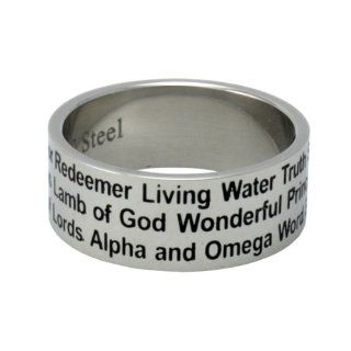 Christian Unisex Abstinence Stainless Steel 8mm Names of Jesus Ring   Righteous One, Savior, Redeemer, Eternal Life, Lamb of God, Messiah, Lord of Lords, Living Water, Wonderful, Alpha & Omega, Prince of Peace   Purity Ring for Guys & Girls Jewelr